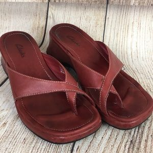 Clark's red leather slip on heeled sandals 7.5M